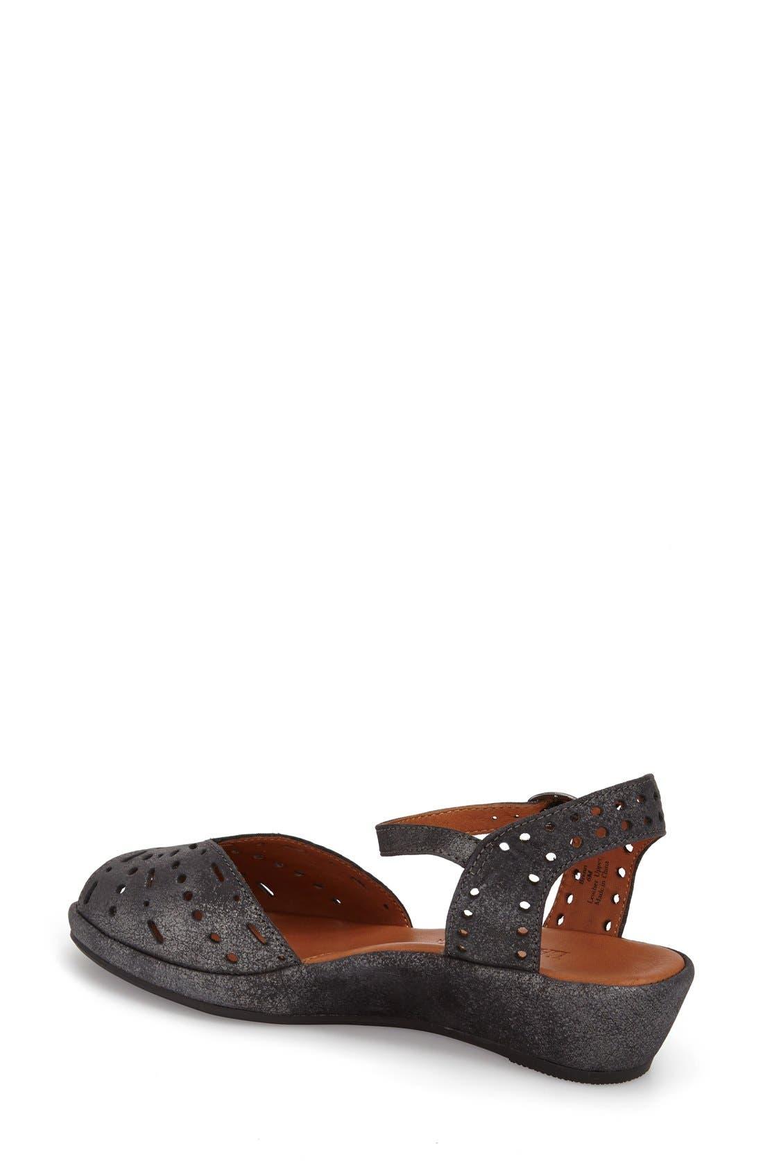 'Brenn' Ankle Strap Sandal,                             Alternate thumbnail 2, color,                             Graphite Leather