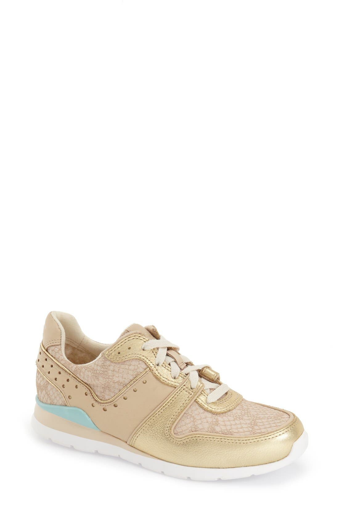 Deaven Sneaker,                         Main,                         color, Gold Fabric