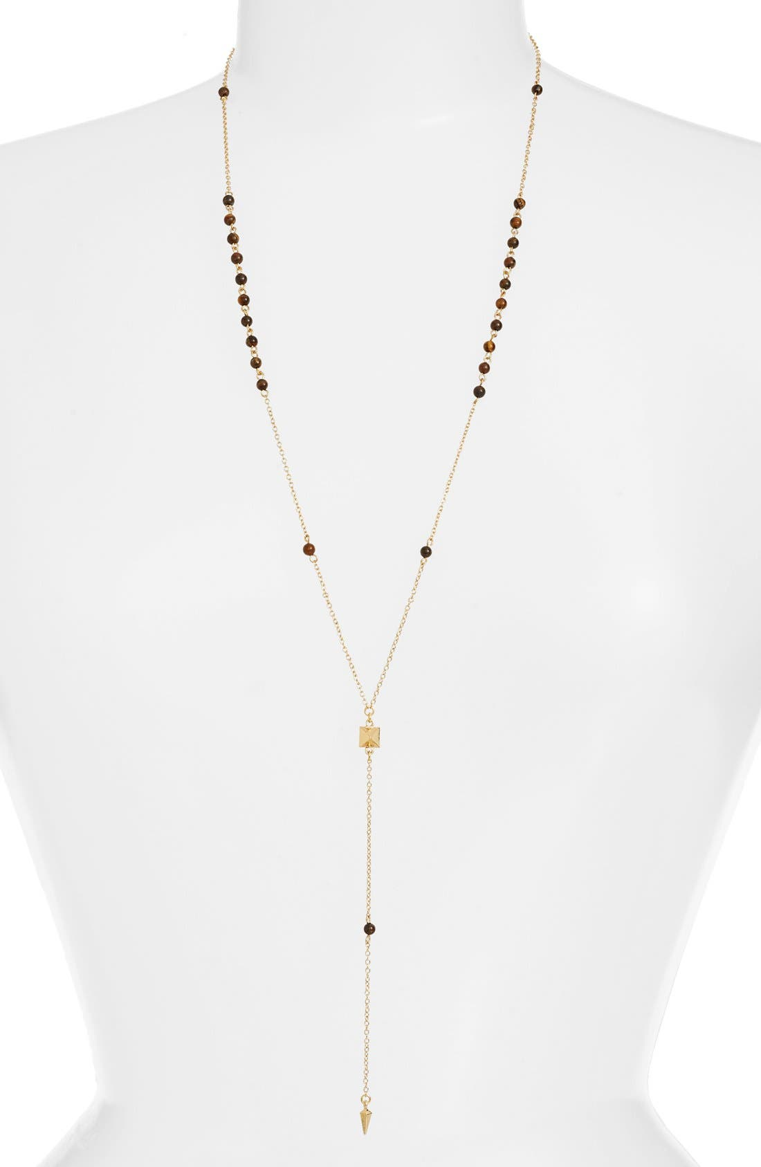 Pyramid Pendant Rosary Necklace,                         Main,                         color, Gold