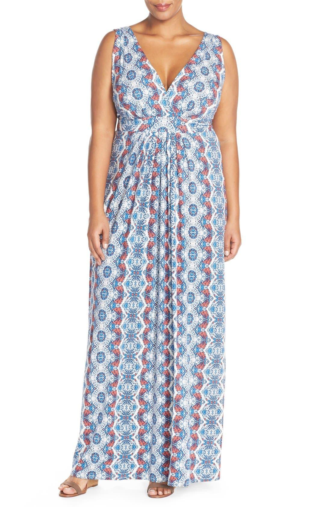Chloe Empire Waist Maxi Dress,                         Main,                         color, Woodblock Stripe
