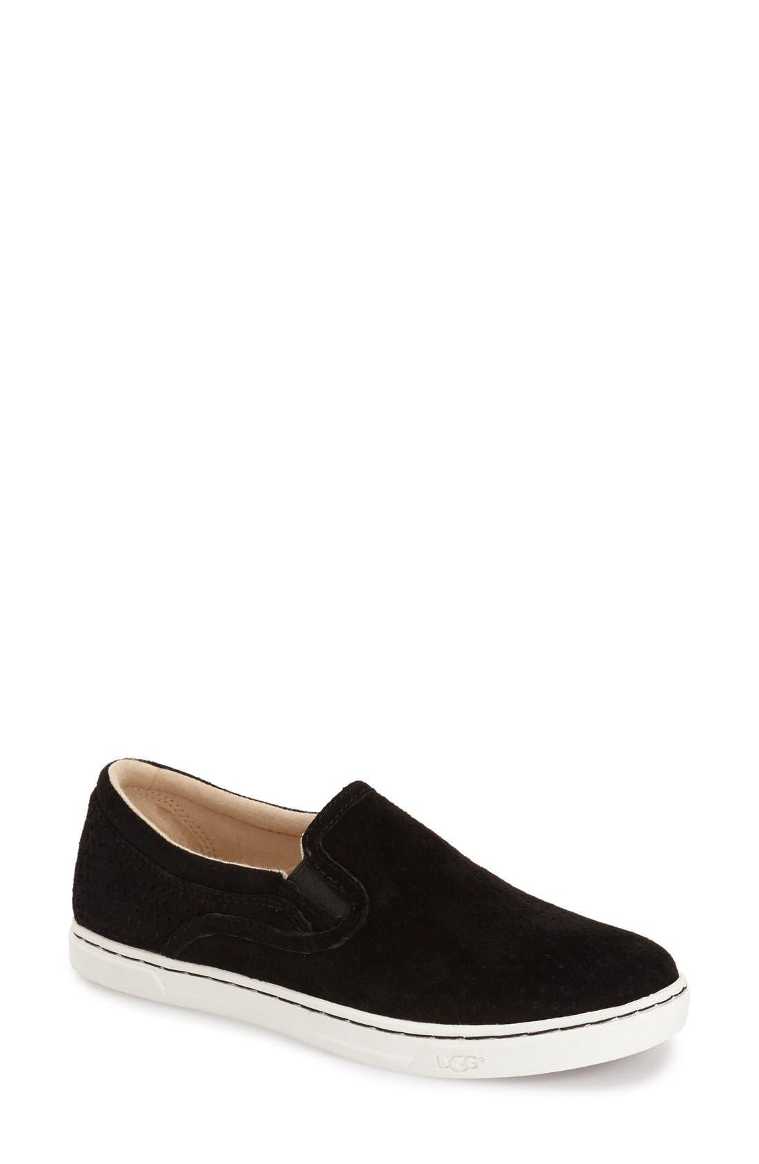 'Fierce Geo' Perforated Slip-On Sneaker,                             Main thumbnail 1, color,                             Black Suede