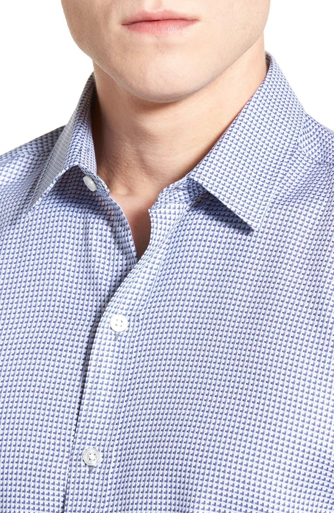 'Robbie' Slim Fit Sport Shirt,                             Alternate thumbnail 4, color,                             Turquoise
