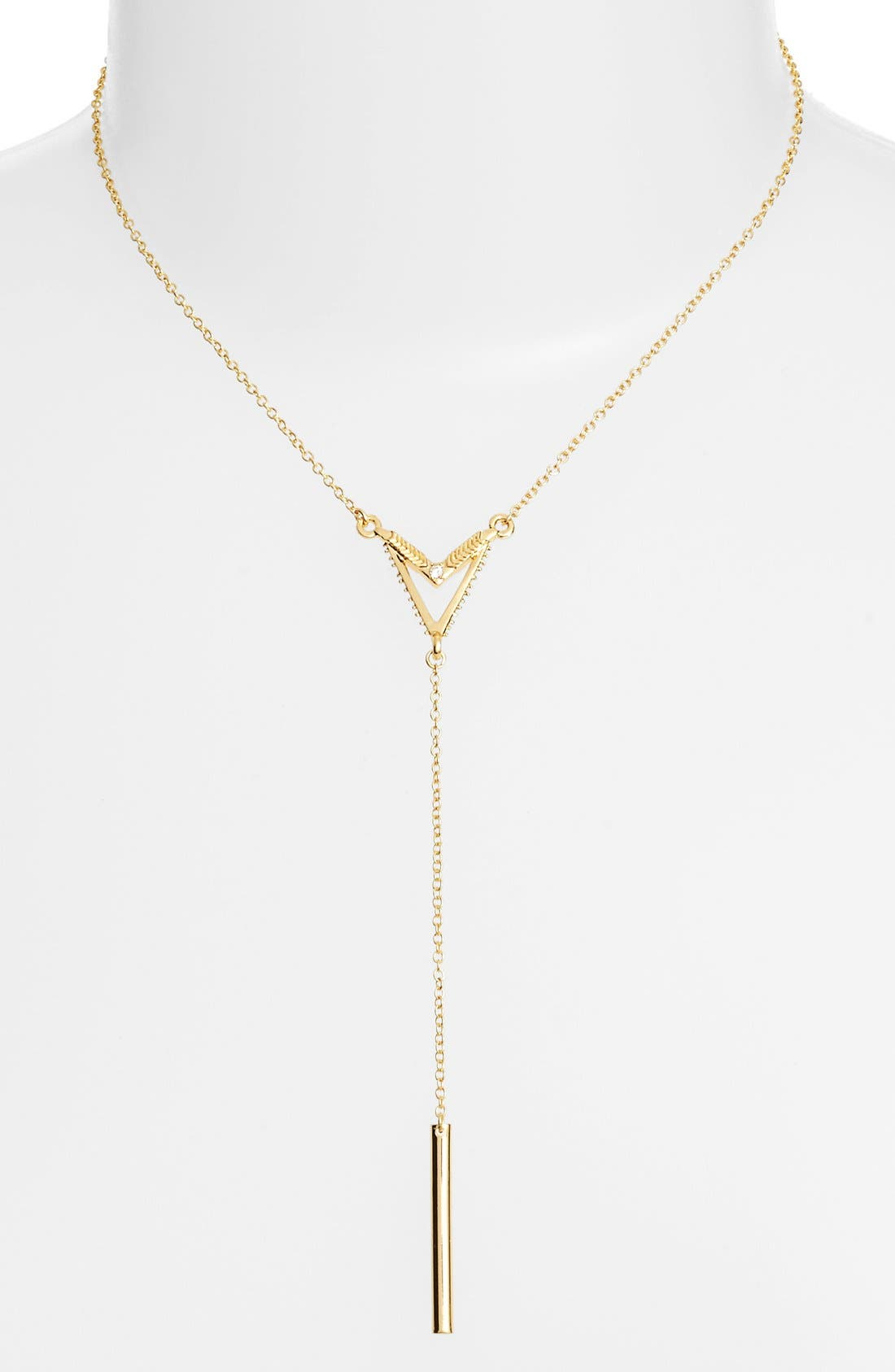 V Bar Necklace,                         Main,                         color, Gold