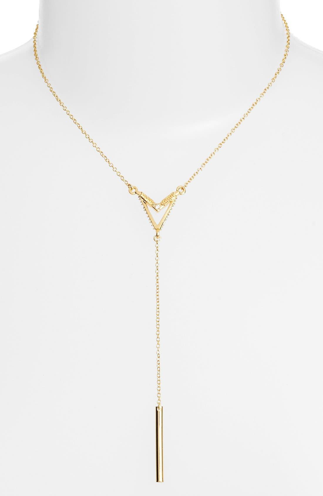 V Bar Necklace,                         Main,                         color, Gold