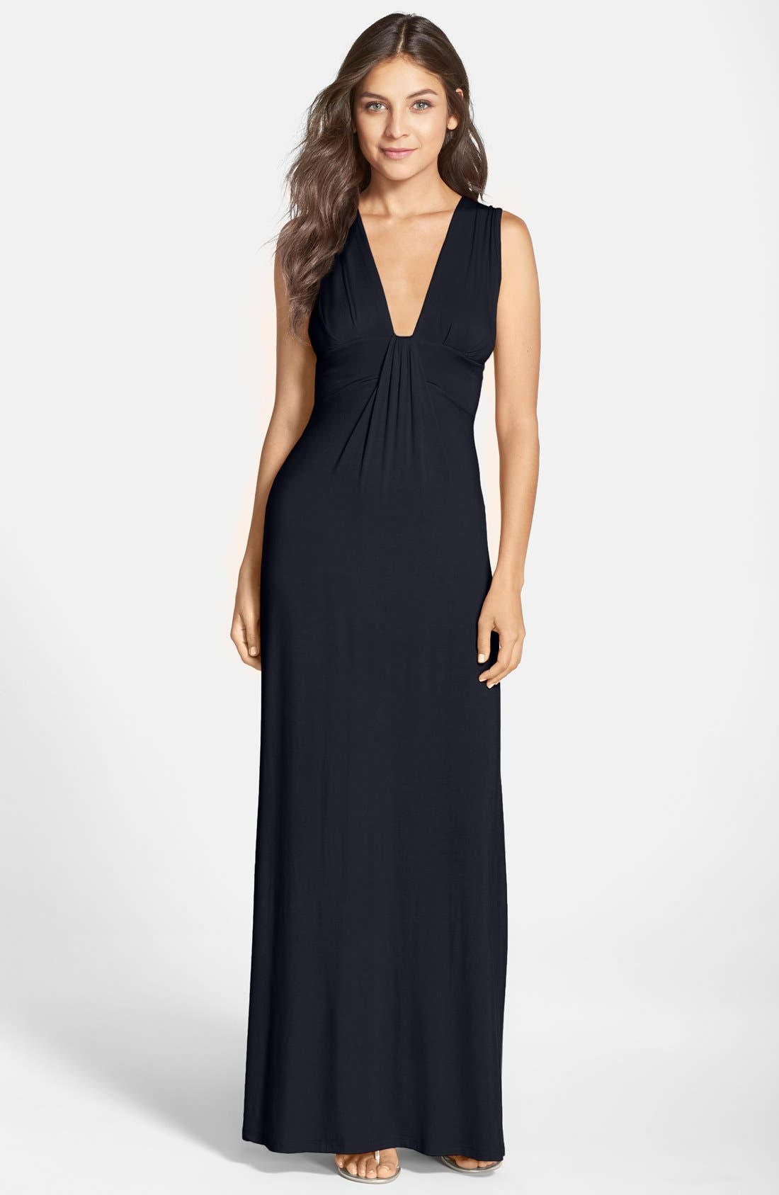 Fraiche by J Deep V-Neck Jersey Maxi Dress