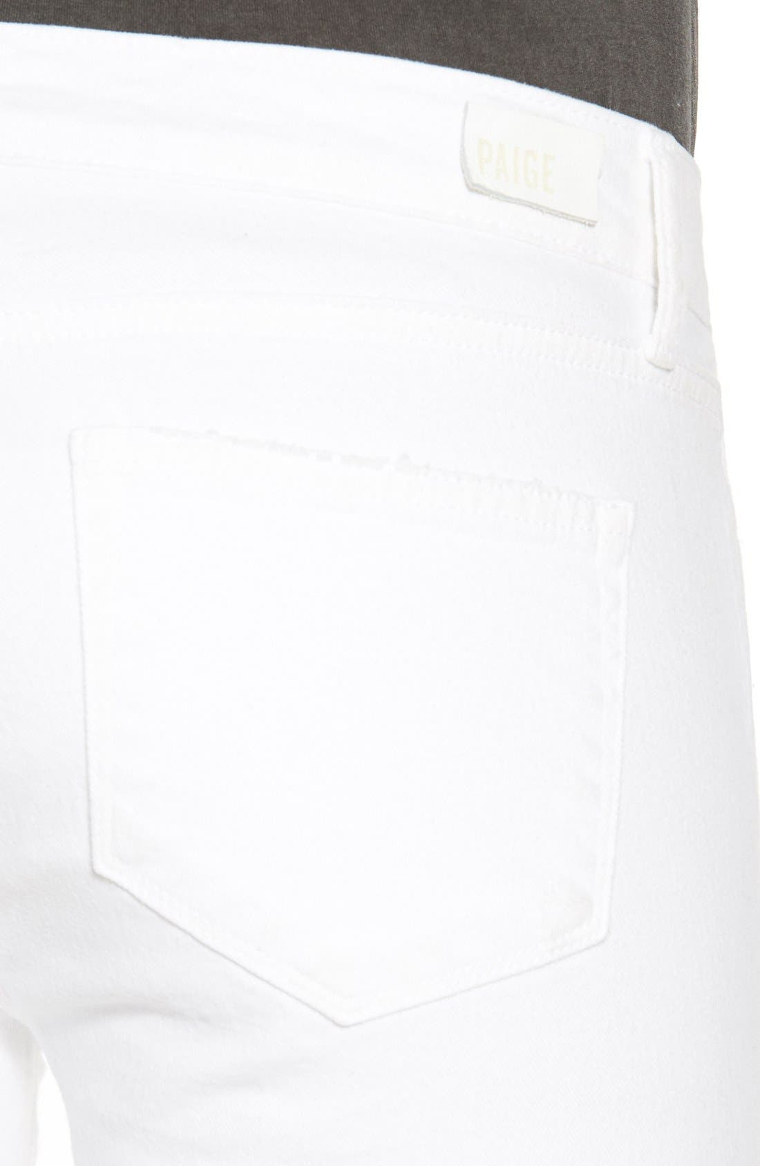 Alternate Image 4  - PAIGE 'Verdugo' Ankle Skinny Jeans (Arctic White Destructed)