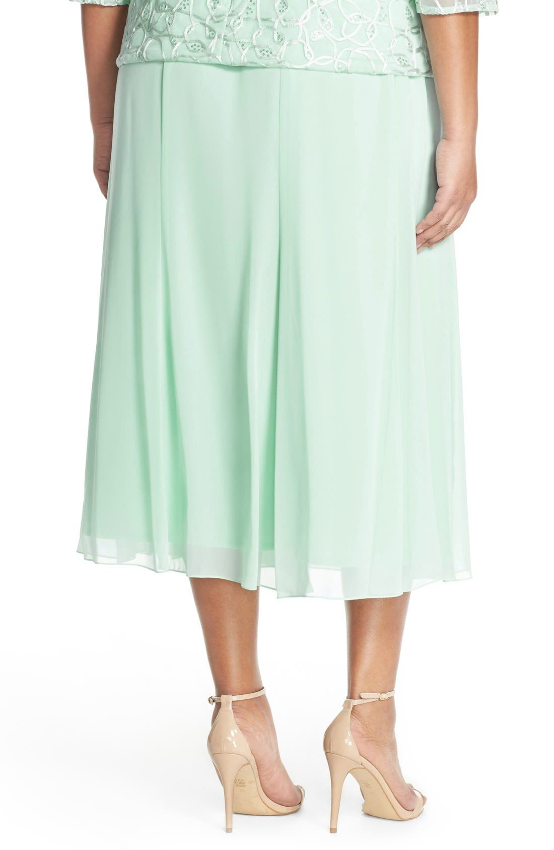 Alternate Image 4  - Alex Evenings Chiffon Skirt (Plus Size)