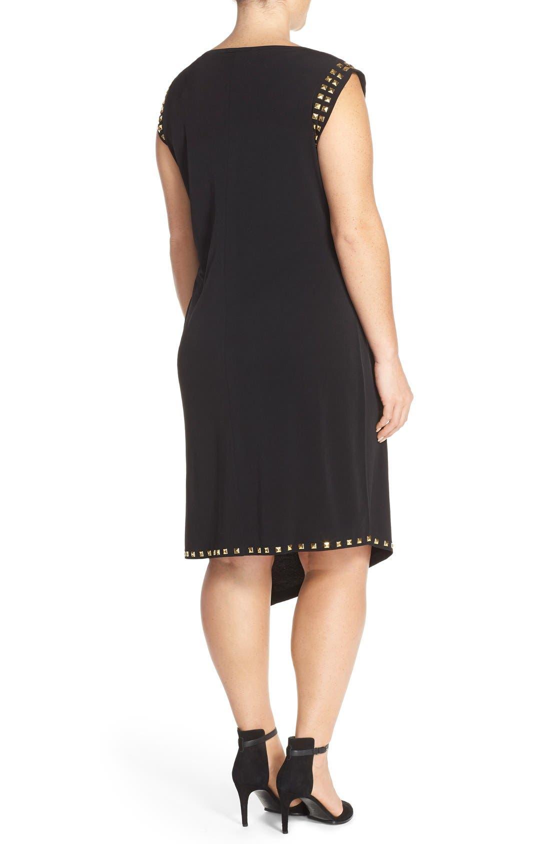 Studded Asymmetrical Shift Dress,                             Alternate thumbnail 2, color,                             Black/ Gold