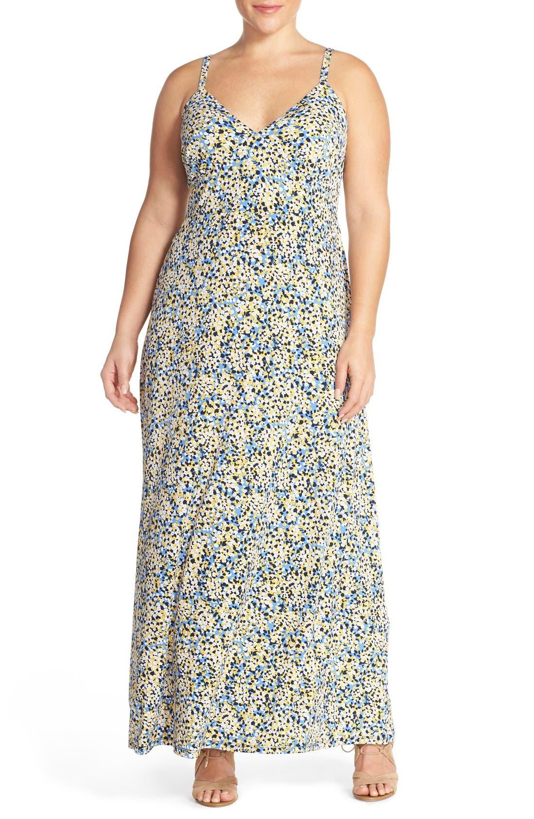 Main Image - MICHAEL Michael Kors 'Chiltington' Jersey A-Line Maxi Dress (Plus Size)
