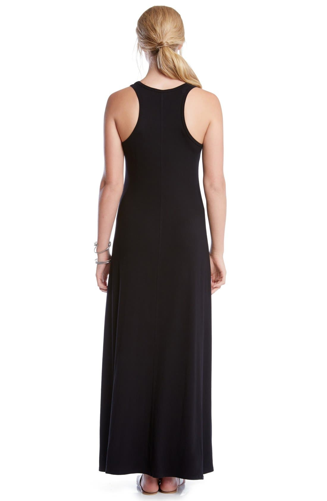 'Tasha' Racerback Jersey Maxi Dress,                             Alternate thumbnail 3, color,                             Black