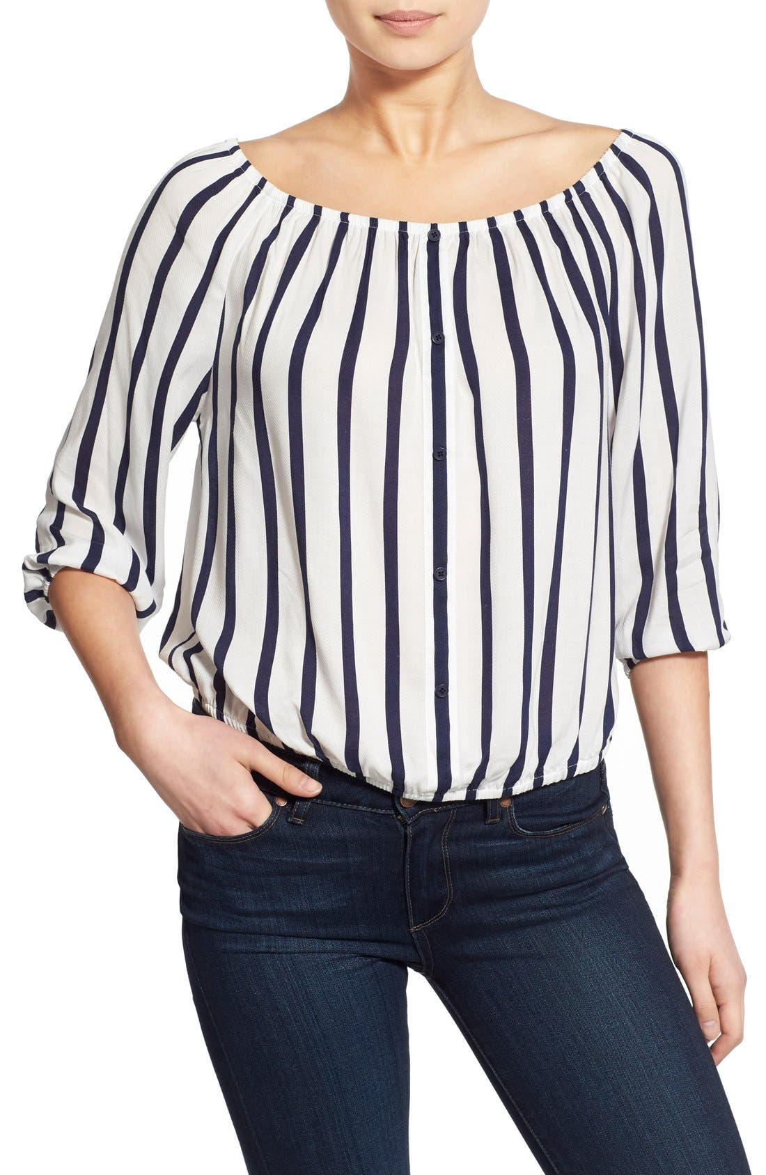 Alternate Image 6  - cupcakes and cashmere 'Eleni' Stripe Off the Shoulder Top