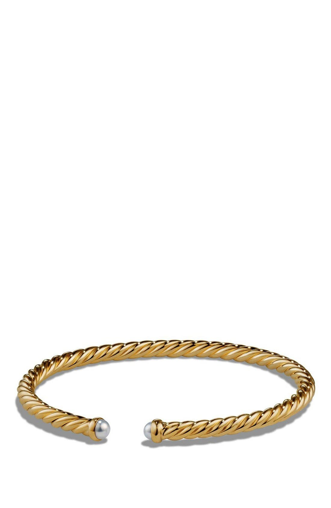 Alternate Image 1 Selected - David Yurman Cable Spira Bracelet with Semiprecious Stones in 18K Gold
