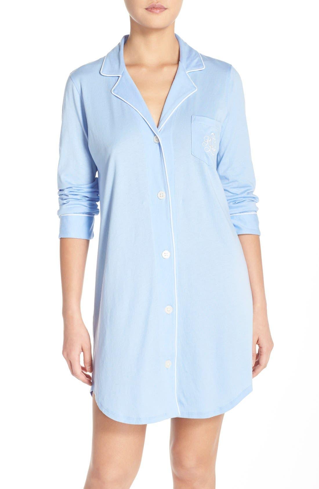 Knit Nightshirt,                         Main,                         color, Blue/ Silk Stripe Piping