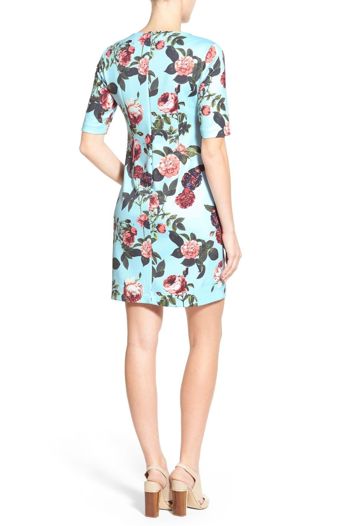 by Cynthia Steffe 'Bouquet Estate' Floral Print Scuba Knit Sheath Dress,                             Alternate thumbnail 3, color,                             Clearwater