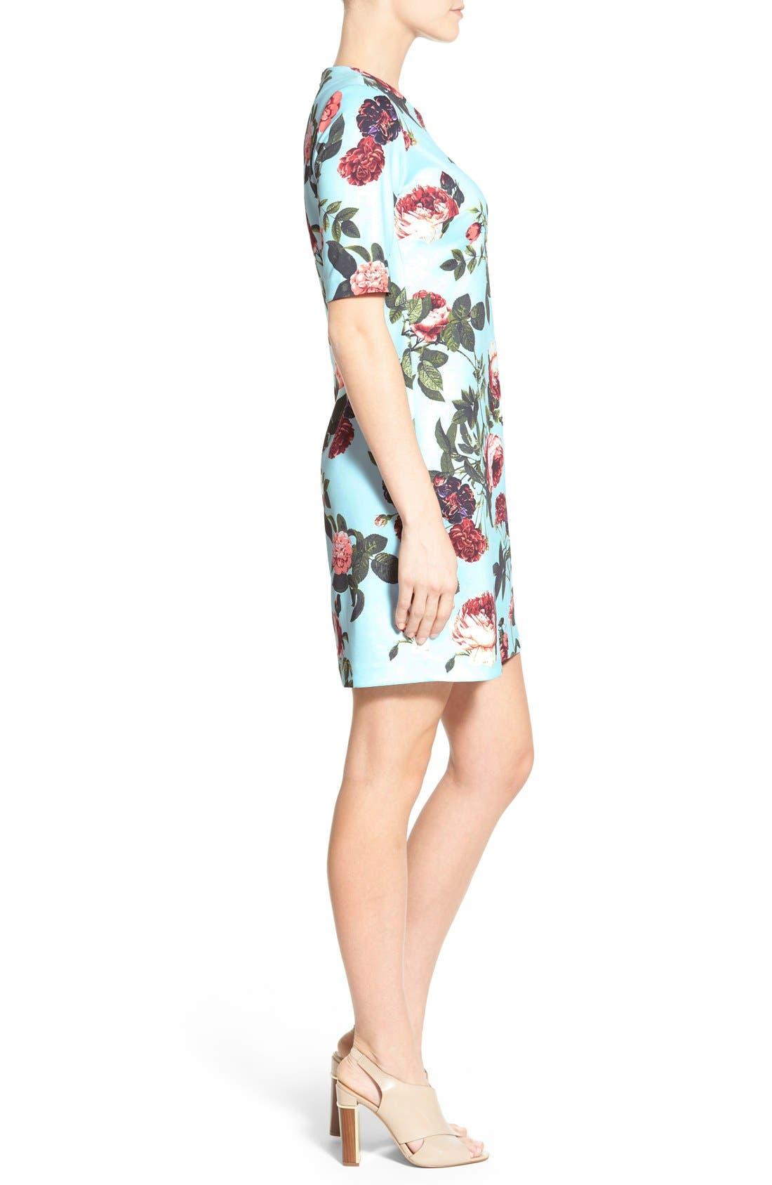 by Cynthia Steffe 'Bouquet Estate' Floral Print Scuba Knit Sheath Dress,                             Alternate thumbnail 4, color,                             Clearwater