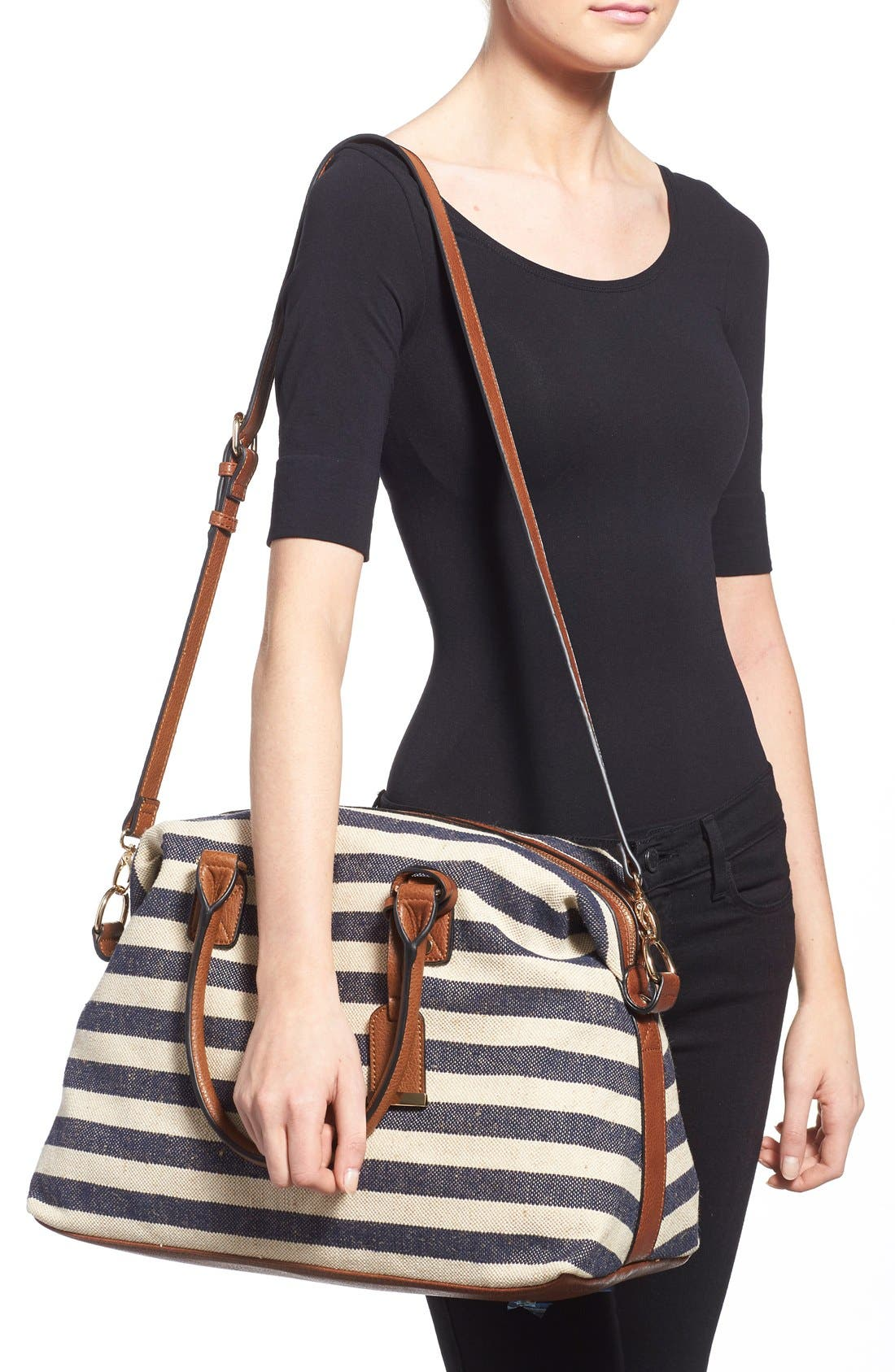 'Leighton' Stripe Duffel Bag,                             Alternate thumbnail 2, color,                             Navy/ Cream