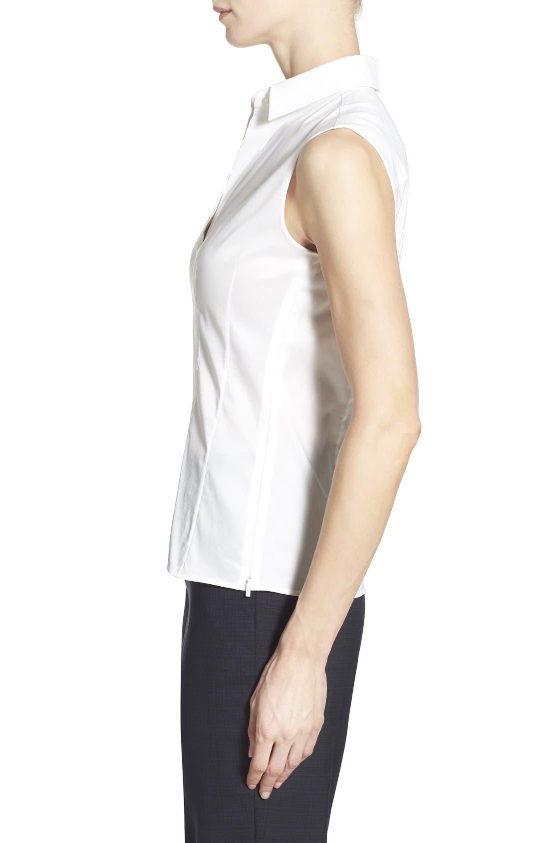 Alternate Image 3  - BOSS 'Bashiva' Sleeveless Poplin Shirt (Regular & Petite)