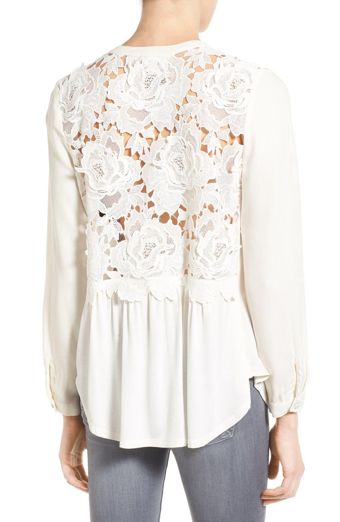 Alternate Image 2  - Ella Moss 'Cresent' Lace Contrast Blouse
