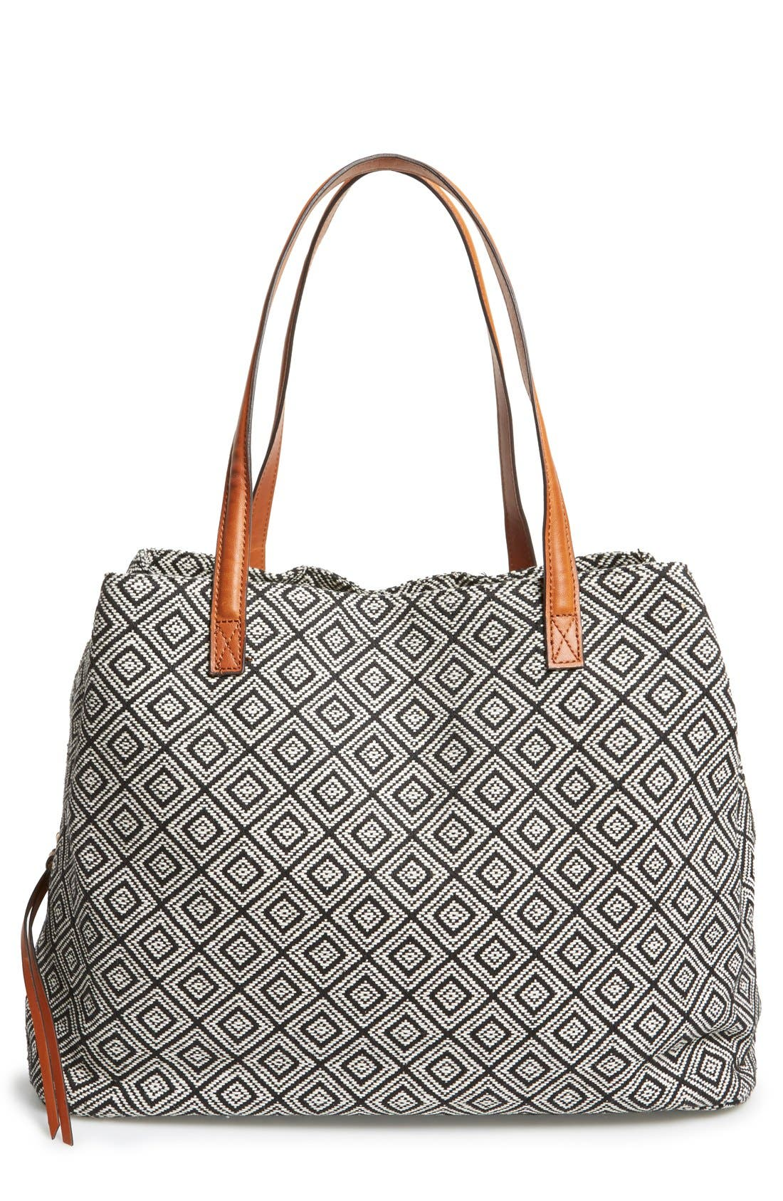 'Oversize Millie' Tote,                             Main thumbnail 1, color,                             Black White Geo