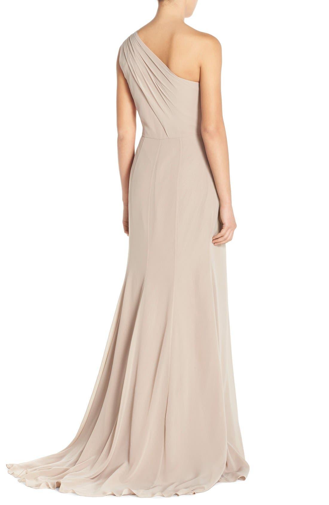 Alternate Image 2  - Monique Lhuillier Bridesmaids One-Shoulder Chiffon Gown