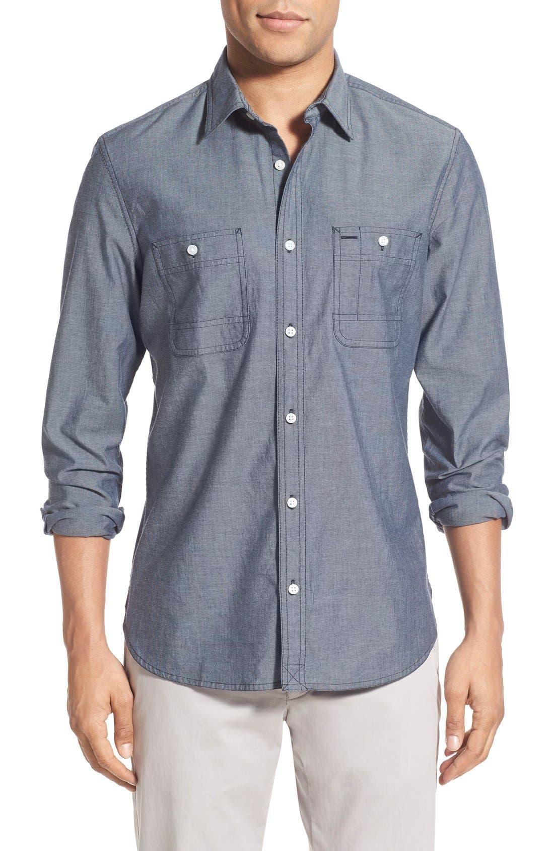 'Workwear' Trim Fit Chambray Sport Shirt,                             Main thumbnail 1, color,                             Light Blue