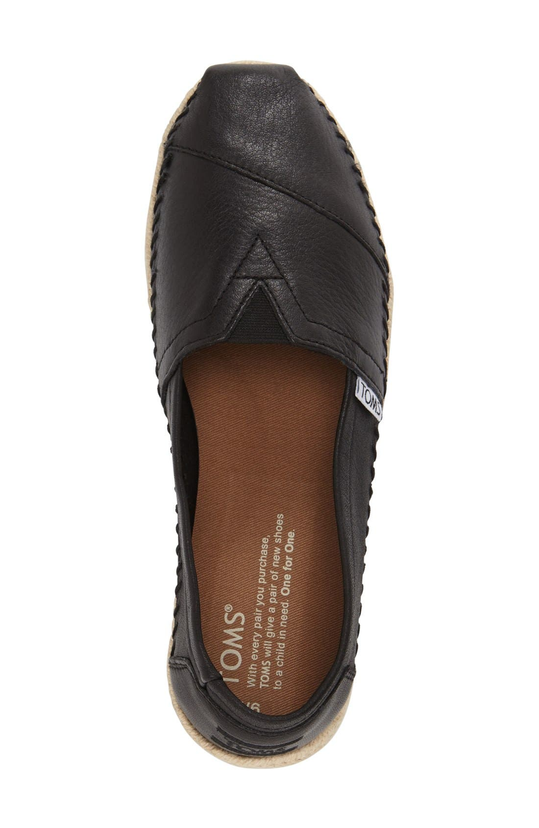 Alternate Image 3  - TOMS 'Classic - Leather' Espadrille Slip-On (Women)