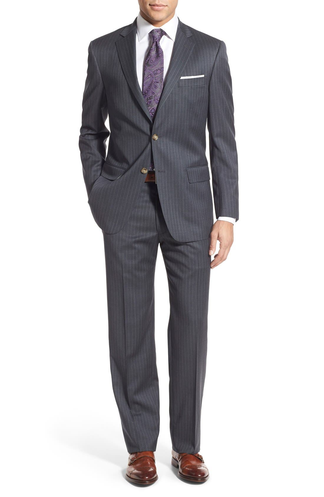 New York Classic Fit Stripe Wool Suit,                             Main thumbnail 1, color,                             Grey
