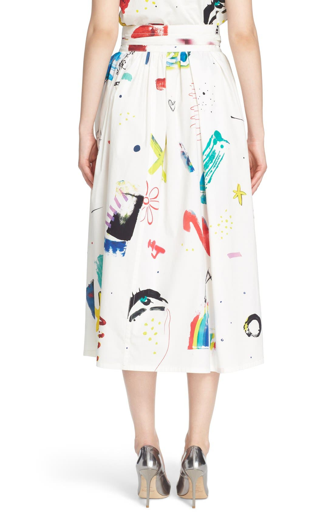 Collage Print Wrap Midi Skirt,                             Alternate thumbnail 2, color,                             Multi
