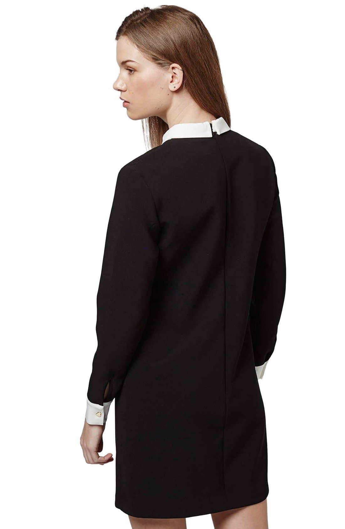 Ruffle Bib Shift Dress,                             Alternate thumbnail 2, color,                             Black Multi