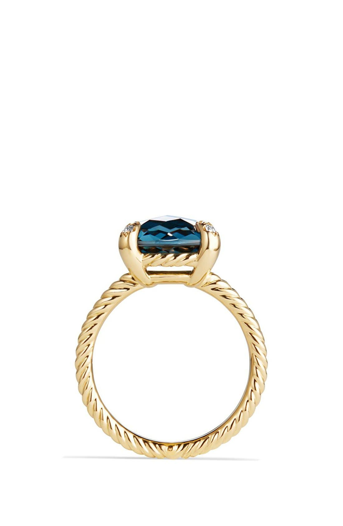Châtelaine Ring with Hampton Blue Topaz and Diamonds in 18K Gold,                             Alternate thumbnail 2, color,                             Hampton Blue Topaz