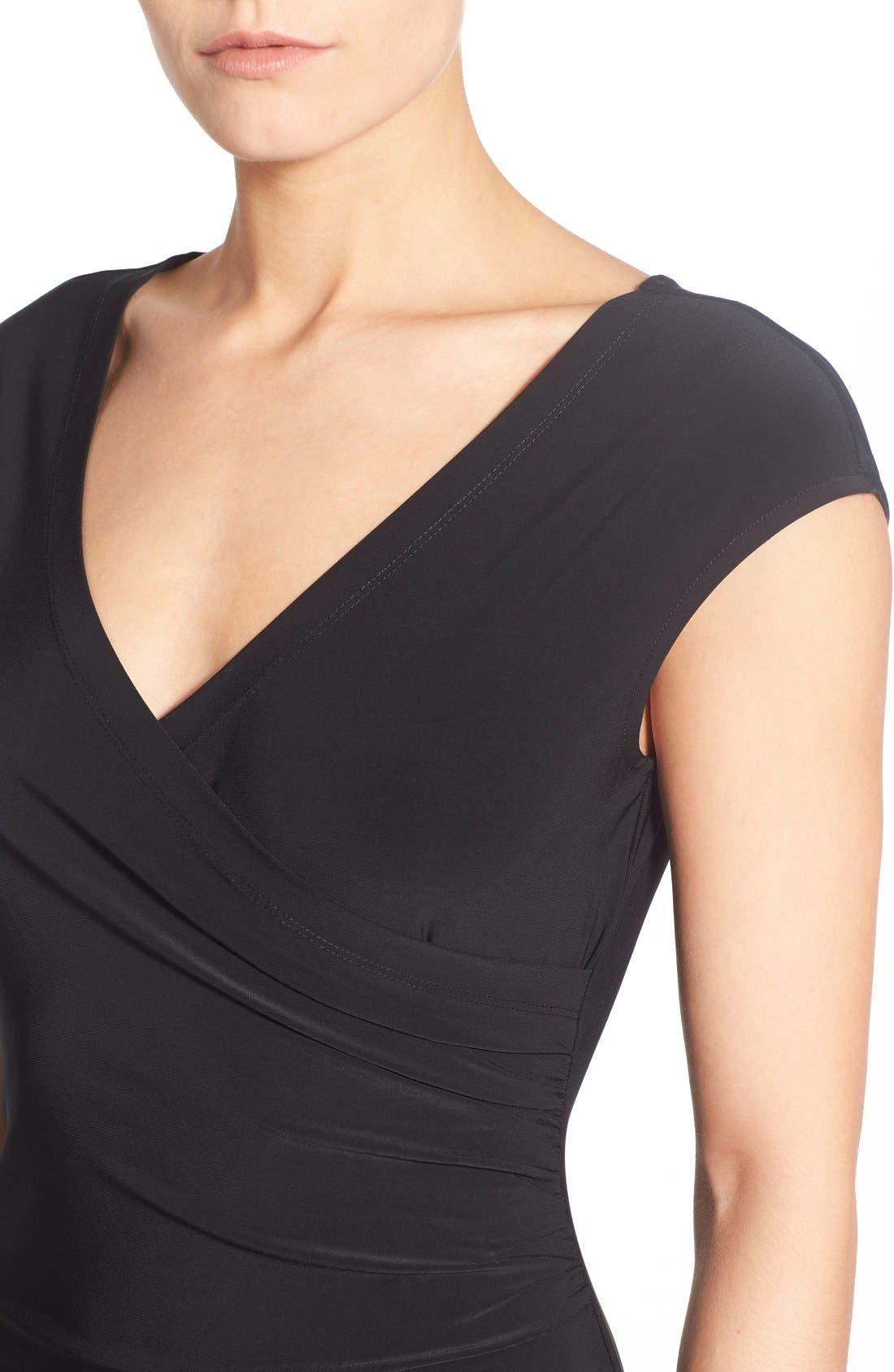 Matte Jersey Faux Wrap Fit & Flare Dress,                             Alternate thumbnail 4, color,                             Black Onyx