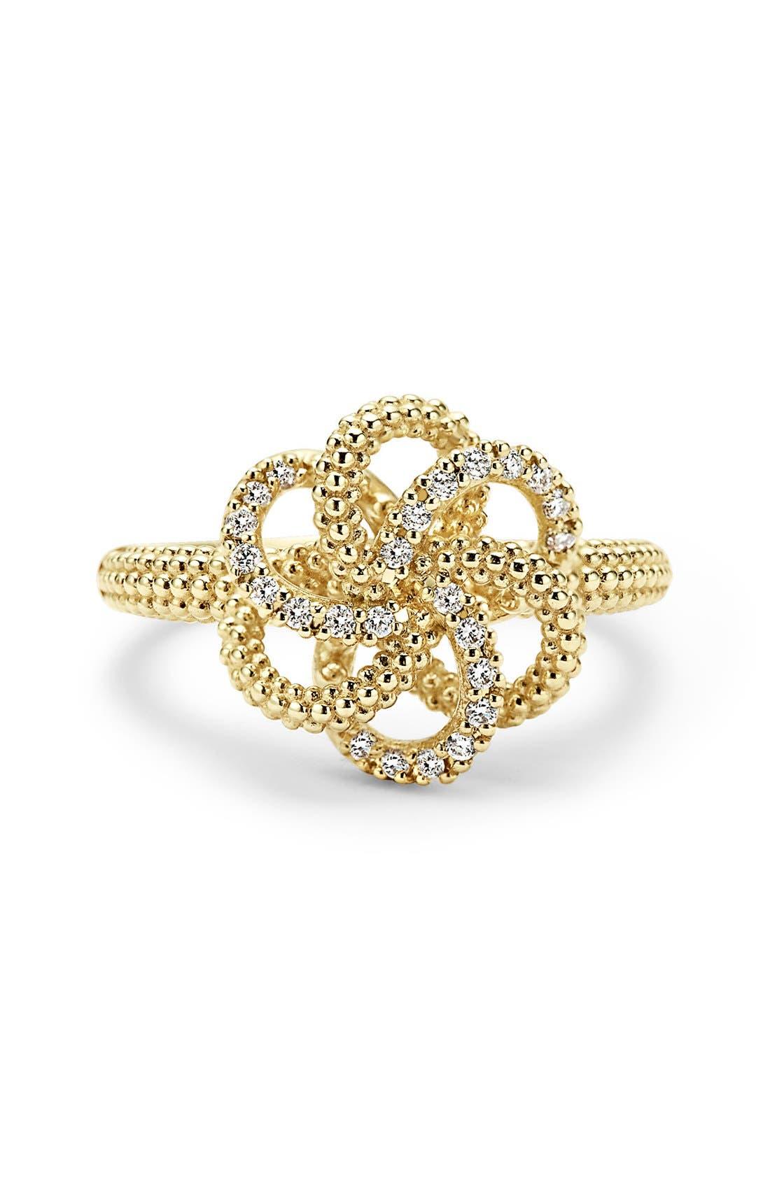 'Love Knot' Diamond Ring,                             Alternate thumbnail 3, color,                             Gold
