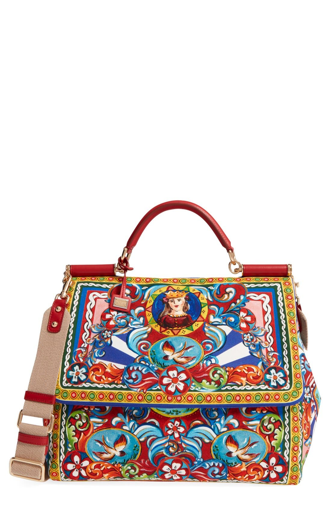 Alternate Image 1 Selected - Dolce&Gabbana 'Large Miss Sicily' Carretto Print Top Handle Canvas Satchel