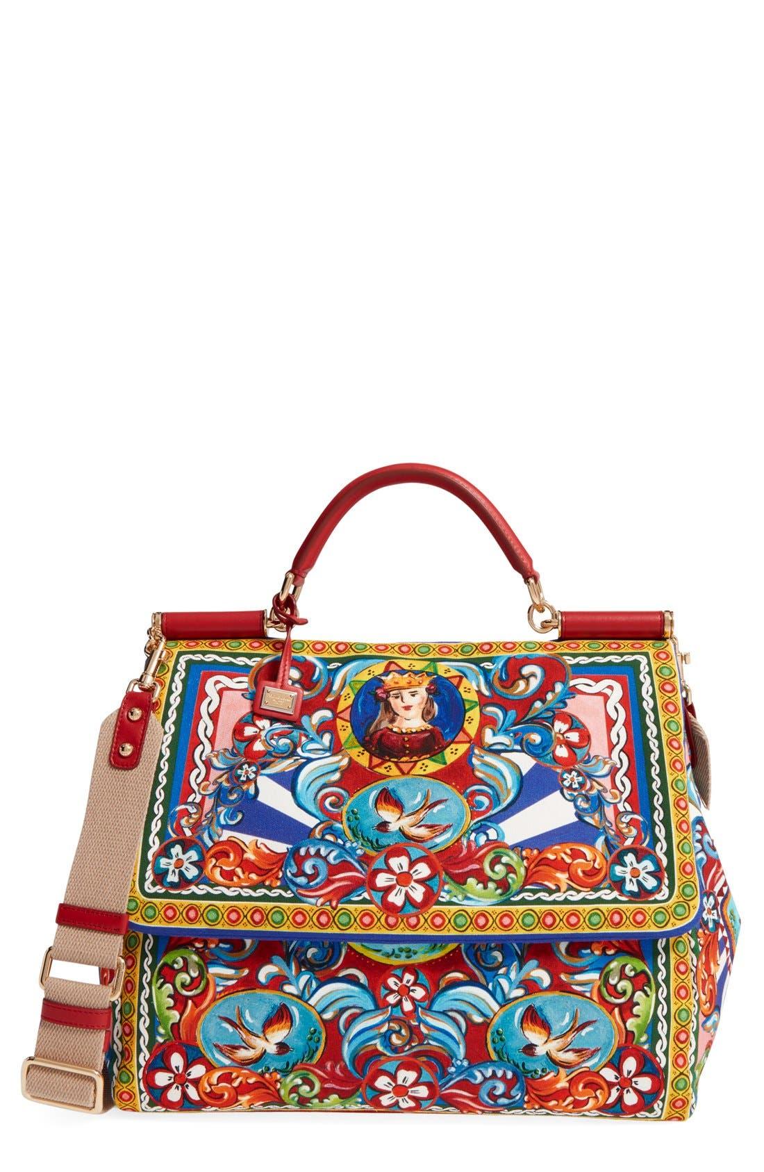 Main Image - Dolce&Gabbana 'Large Miss Sicily' Carretto Print Top Handle Canvas Satchel