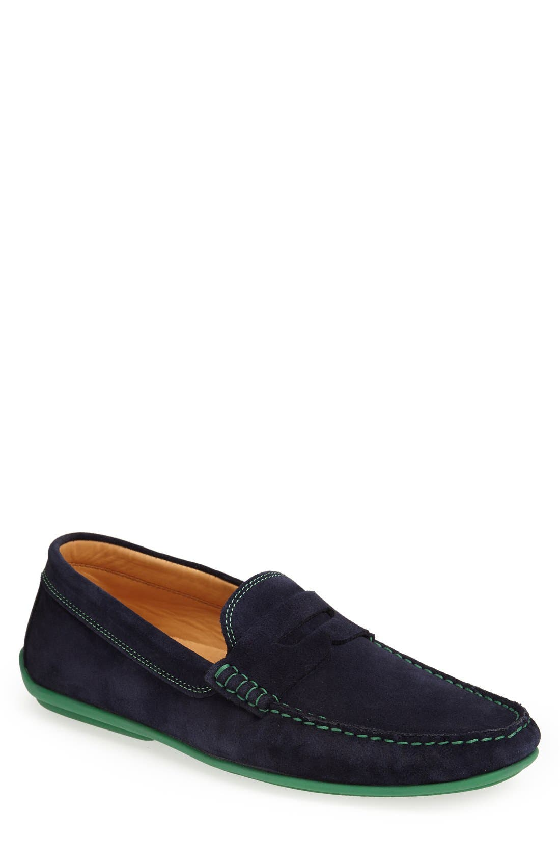 'Chathams' Penny Loafer,                             Main thumbnail 1, color,                             Navy Suede/ Green