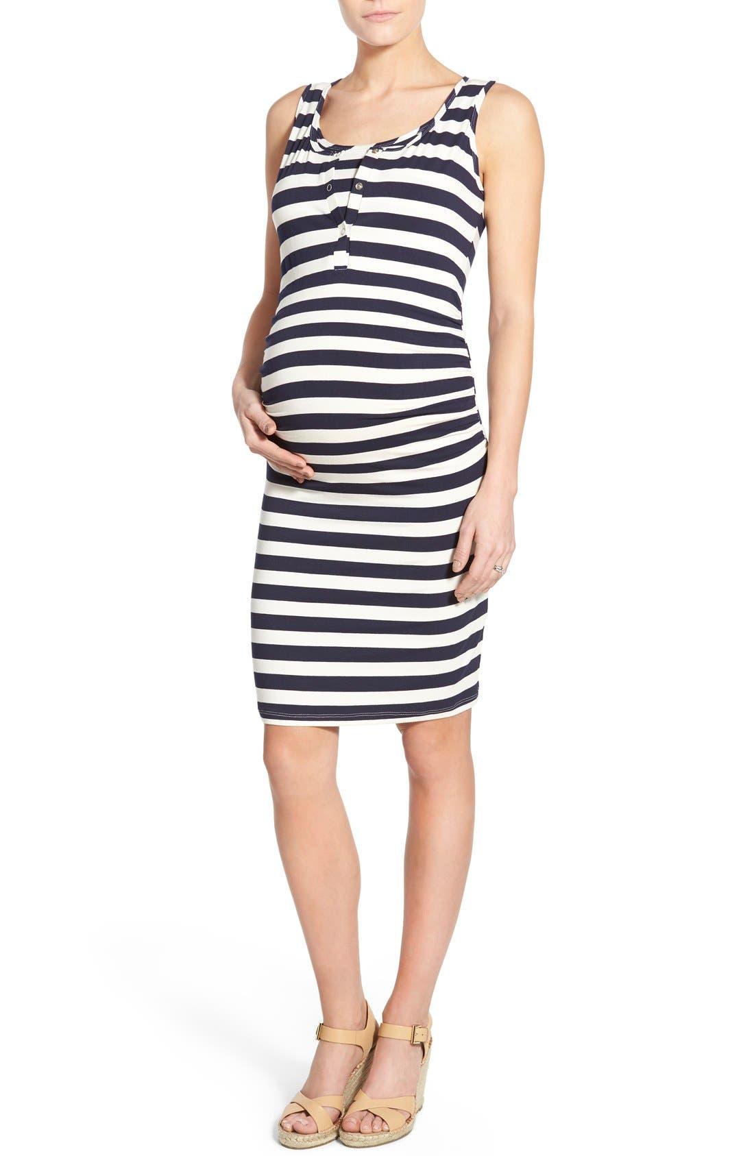 'Joy' Sleeveless Maternity/Nursing Midi Dress,                             Main thumbnail 1, color,                             Even Navy Stripe