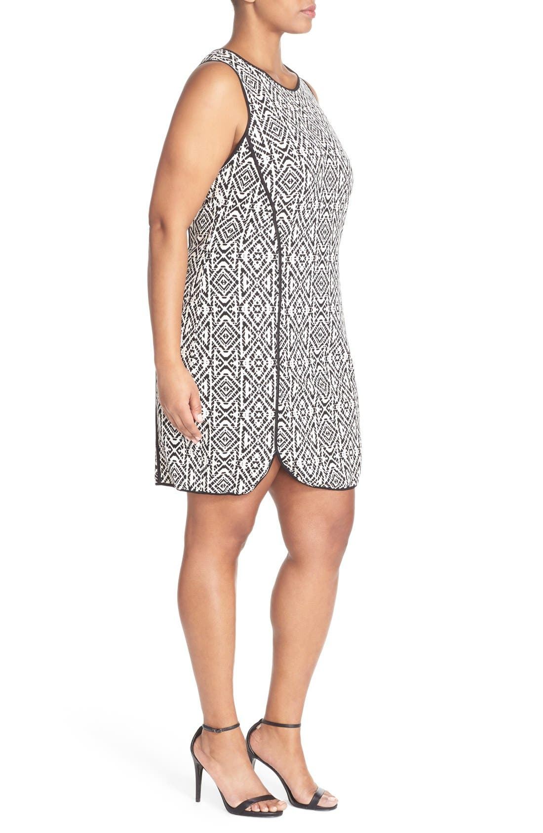 'Joslyn' Sleeveless Seam Detail Ponte Sheath Dress,                             Alternate thumbnail 3, color,                             Stamped Geo