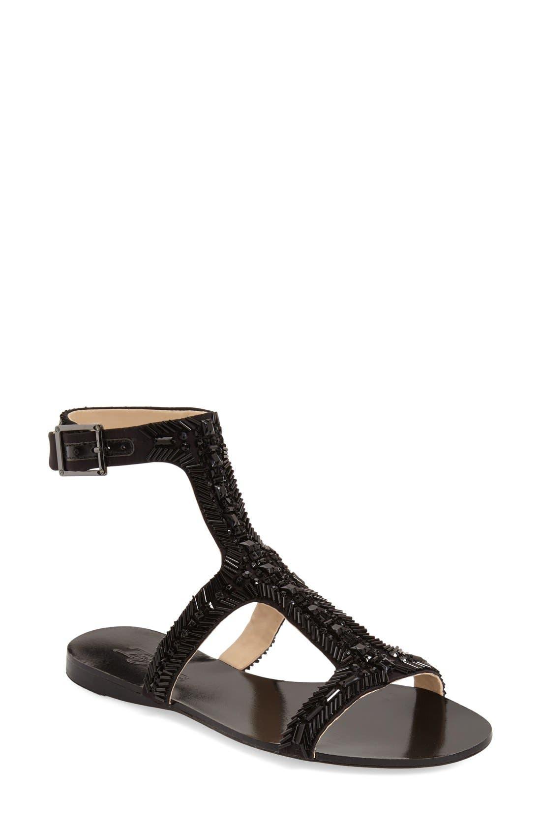 Imagine Vince Camuto 'Reid' Embellished T-Strap Flat Sandal,                             Main thumbnail 1, color,                             Black