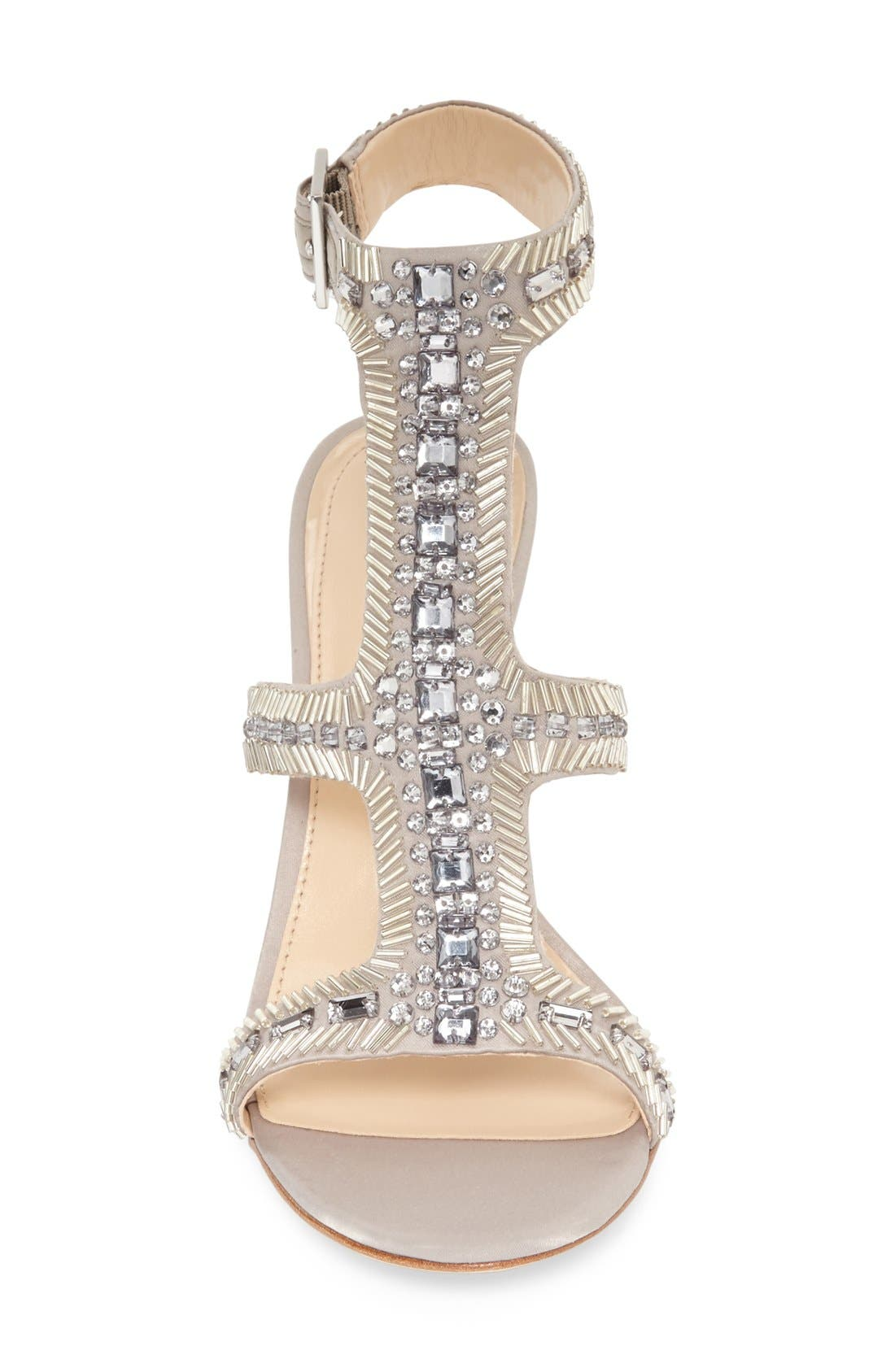 Imagine Vince Camuto 'Price' Beaded T-Strap Sandal,                             Alternate thumbnail 3, color,                             Stone