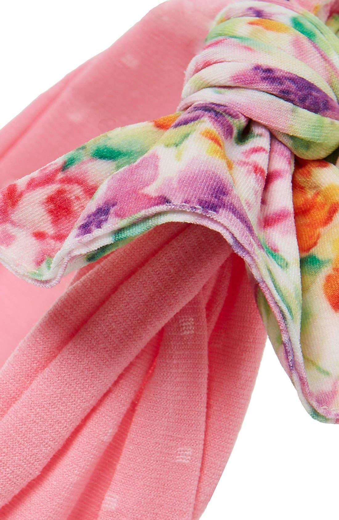Print Bow Headband,                             Alternate thumbnail 2, color,                             Floral Pink