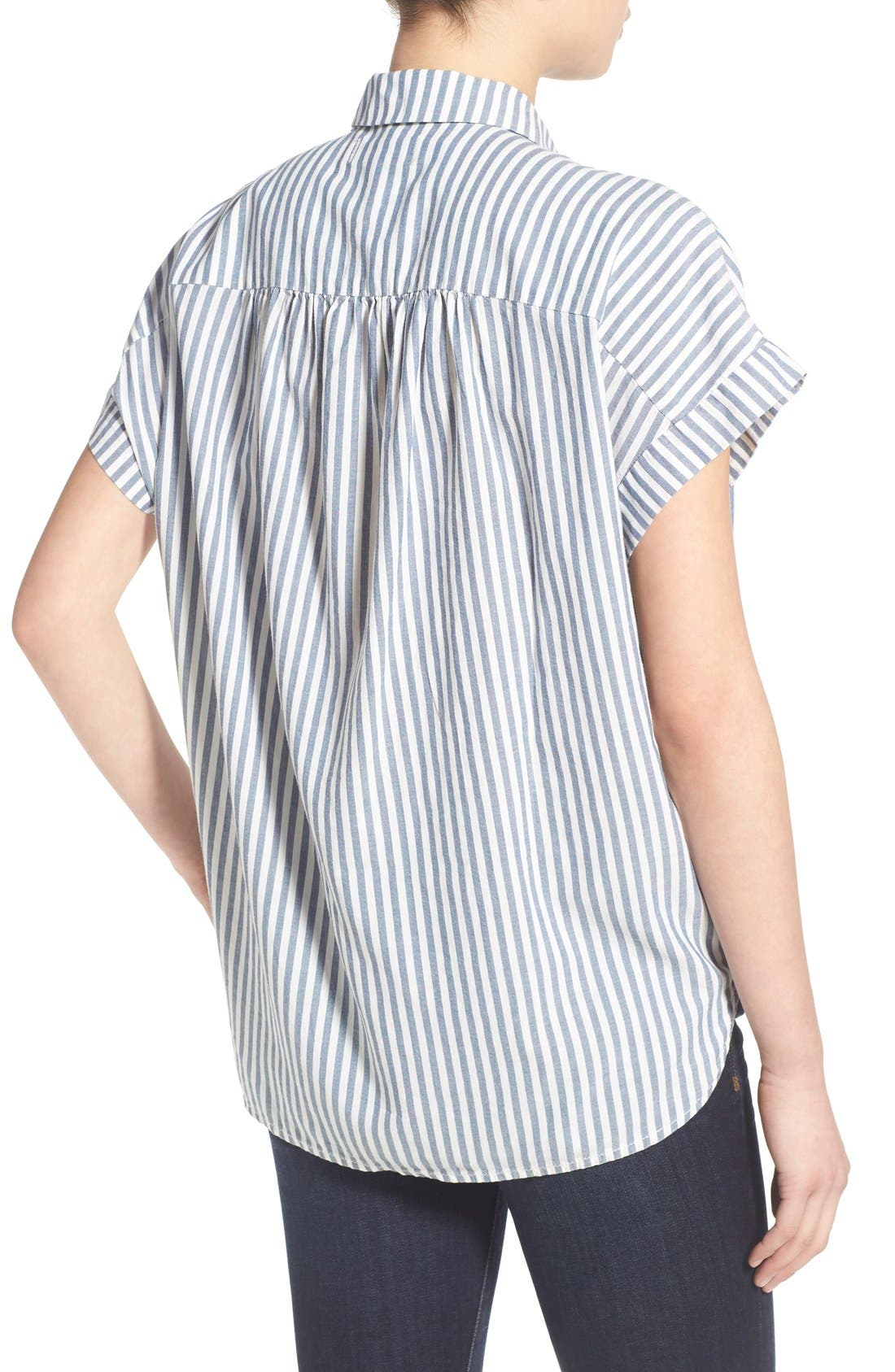 'Central' Stripe Cotton Shirt,                             Alternate thumbnail 2, color,                             Chambray Stripe