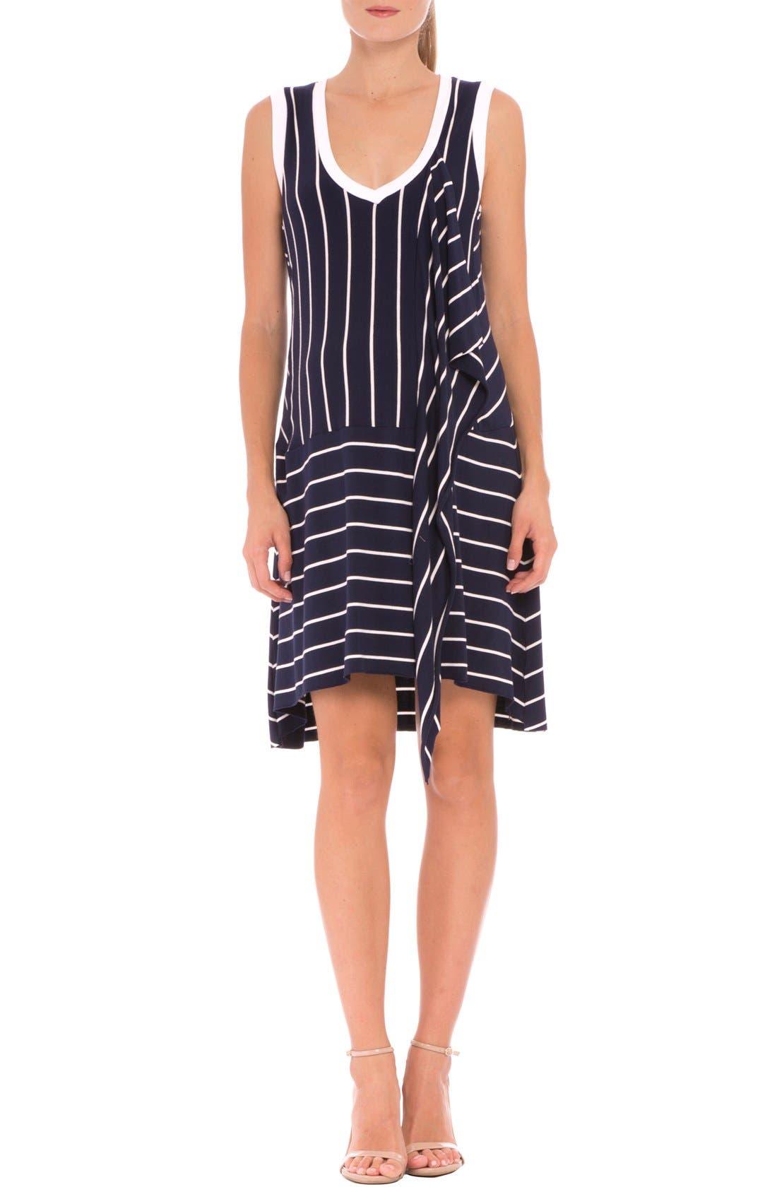 Main Image - Olian 'Krystal' Stripe Ruffle Maternity Dress