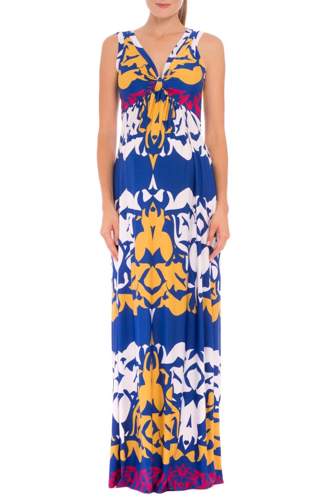 'Ellie' Print Maternity Maxi Dress,                             Main thumbnail 1, color,                             Blue Multi
