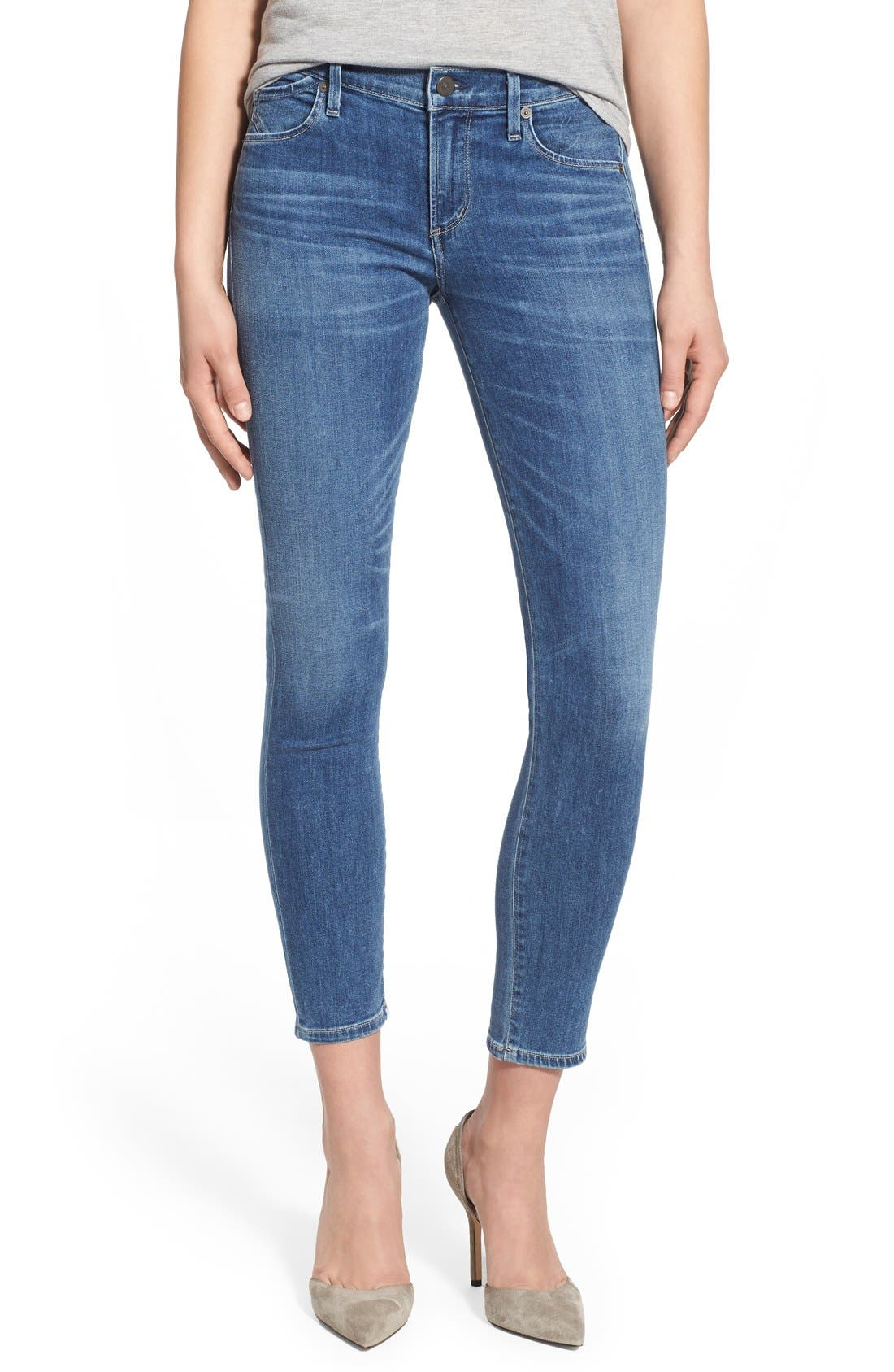 Ankle Skinny Jeans,                         Main,                         color, Harbor