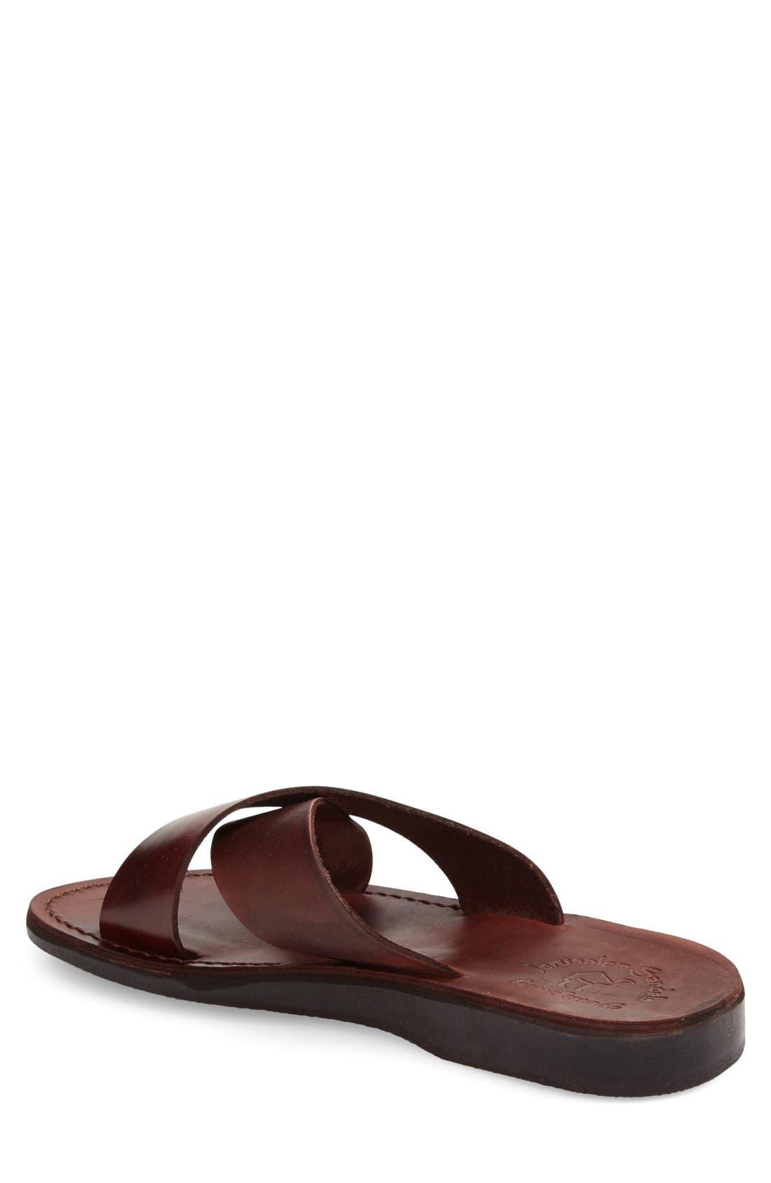 'Elan' Slide Sandal,                             Alternate thumbnail 7, color,                             Brown Leather