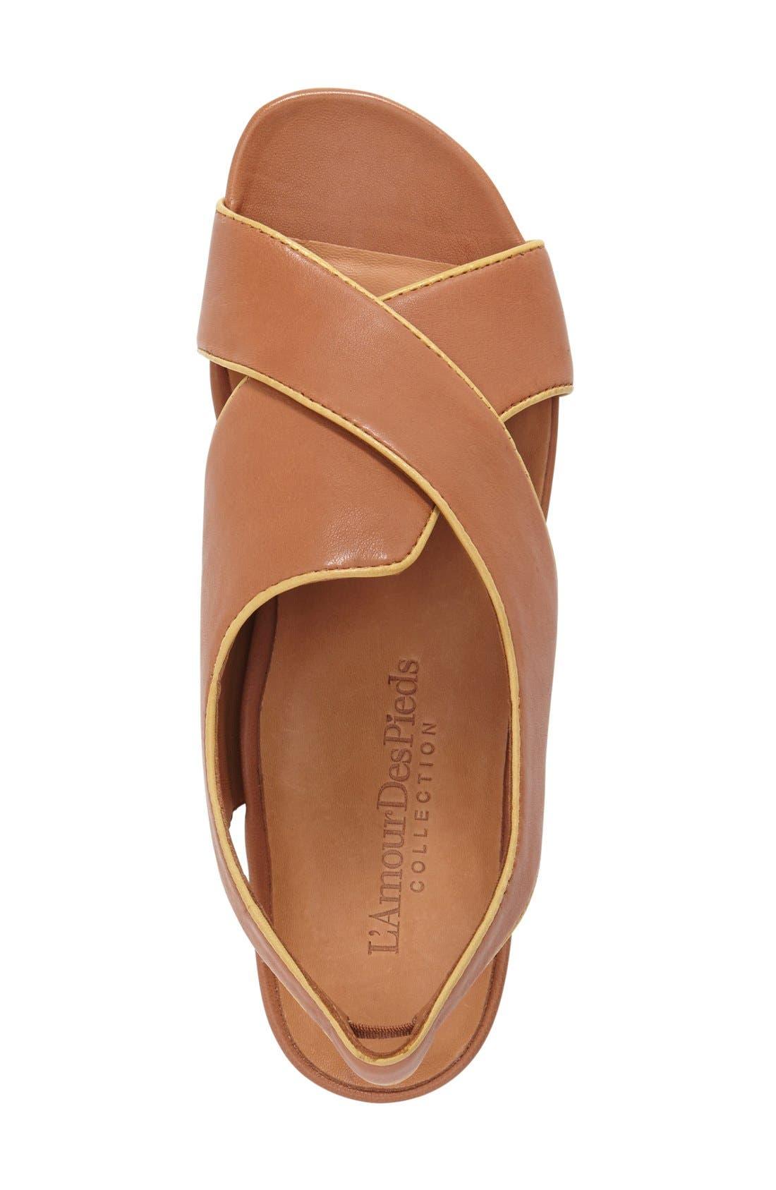 'Dallon' Crisscross Flat Sandal,                             Alternate thumbnail 3, color,                             Cognac Leather