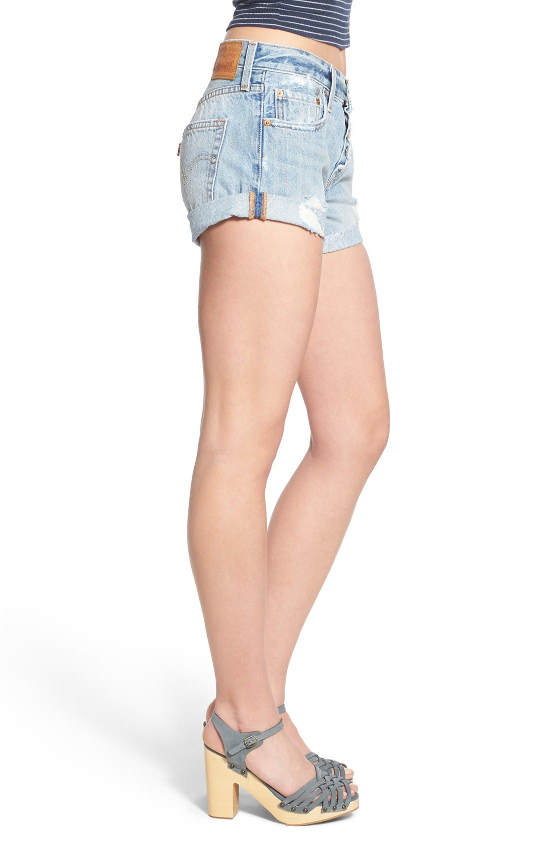 Alternate Image 3  - Levi's® '501® Customized' Distressed Rolled Denim Shorts