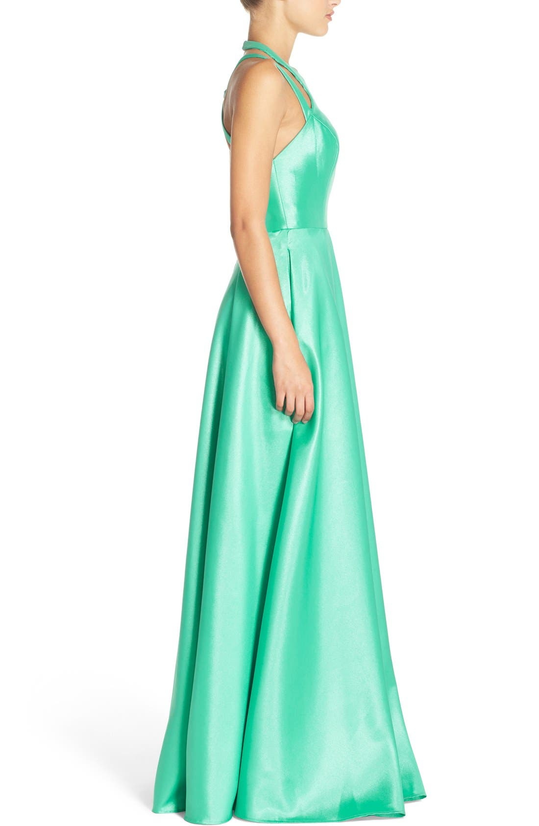 Shimmer Satin Halter Gown with Underskirt,                             Alternate thumbnail 3, color,                             Spearmint