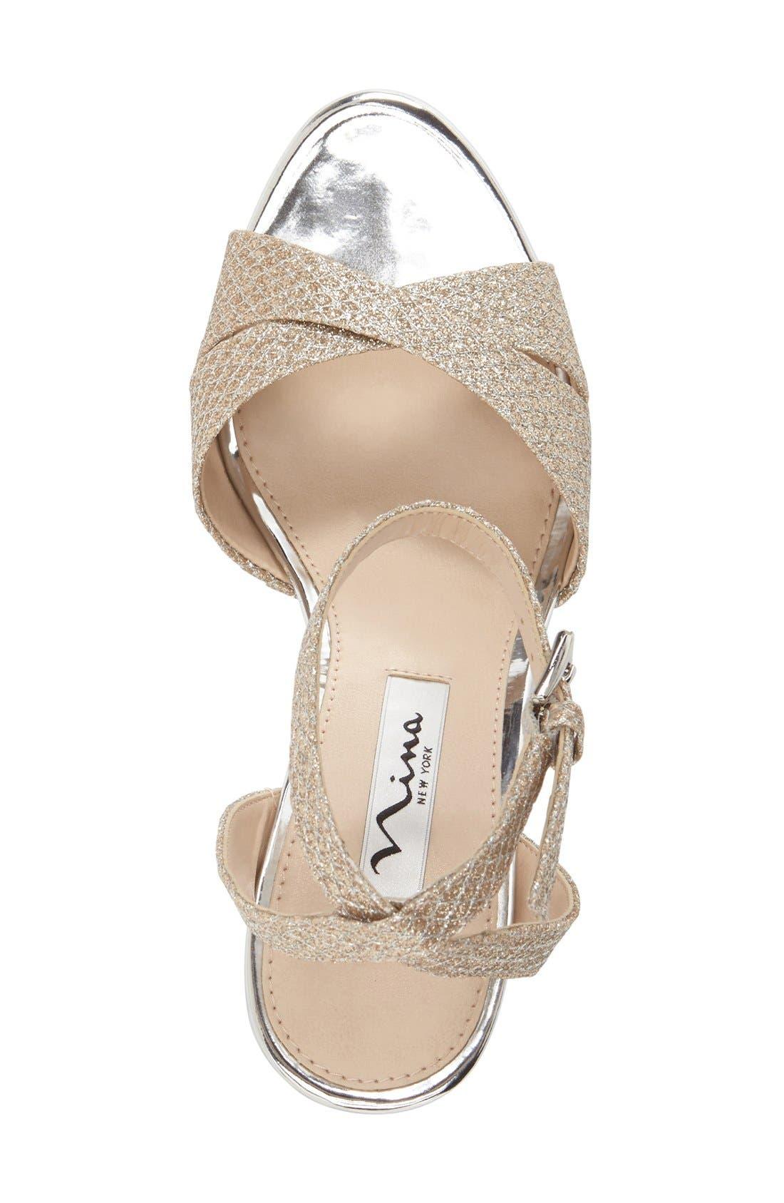 Alternate Image 3  - Nina 'Gianina' Glitter Mesh Wedge Sandal (Women)