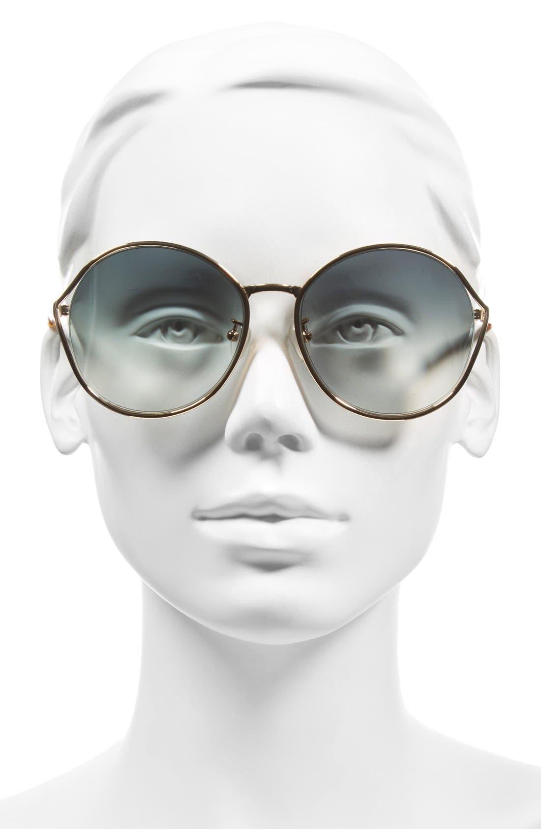'Blythe' 57.5mm Sunglasses,                             Alternate thumbnail 2, color,                             Rose Gold